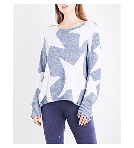 WILDFOX Lucky Stars Phantom distressed cotton-blend jumper (Flecked+vision+blue