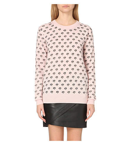 MARKUS LUPFER Natalie printed merino wool jumper (Blush/black