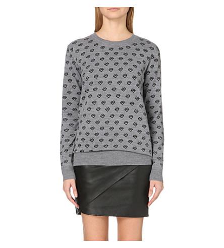 MARKUS LUPFER Natalie printed merino wool sweater (Grey/black
