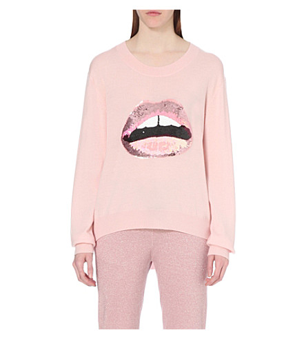 MARKUS LUPFER Lara Lip Joey sequin-embellished merino-wool jumper (Blush