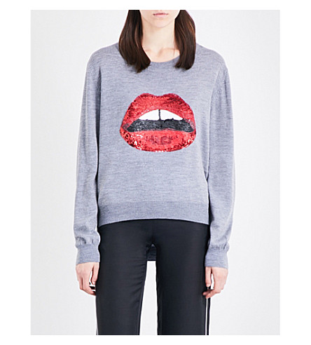 MARKUS LUPFER Joey sequin-embellished knitted jumper (Medium+grey