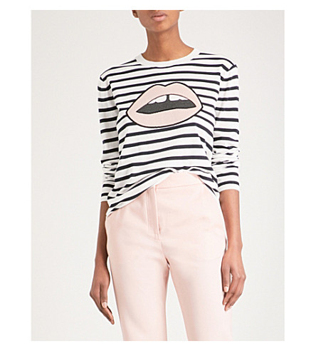 MARKUS LUPFER Striped Lara Lip cotton jumper (White/+navy
