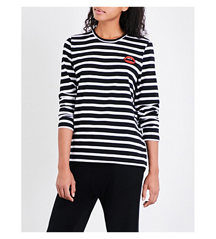 MARKUS LUPFER Lara Lip striped cotton-jersey top (Black+/+white+stripe