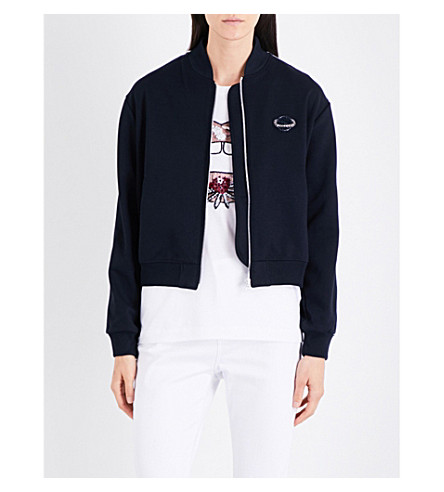 MARKUS LUPFER Sequin-embellished Planet jersey jacket (Navy