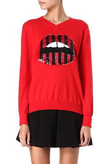 MARKUS LUPFER Sequinned lips jumper