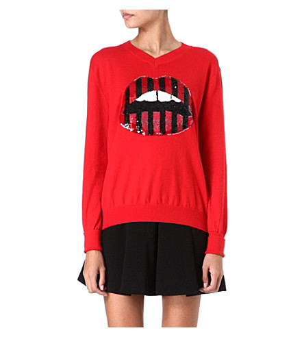MARKUS LUPFER Sequinned lips jumper (Red