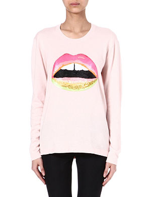 MARKUS LUPFER Lara neon-lips sequinned jumper