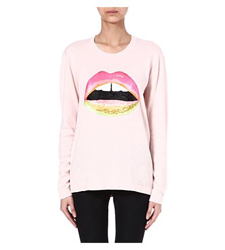MARKUS LUPFER Lara neon-lips sequinned jumper (Candy