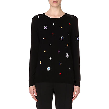 MARKUS LUPFER Jewelled wool jumper (Black