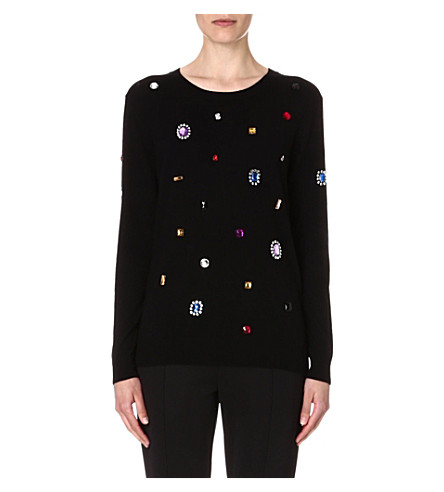 MARKUS LUPFER Jewelled wool jumper (Black
