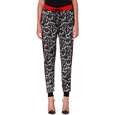 MARKUS LUPFER French lace print tapered trousers (Black+&+white+&+red