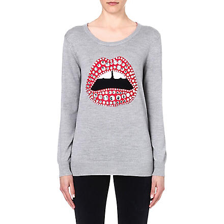MARKUS LUPFER Lara embellished-lips jumper (Light grey/pink