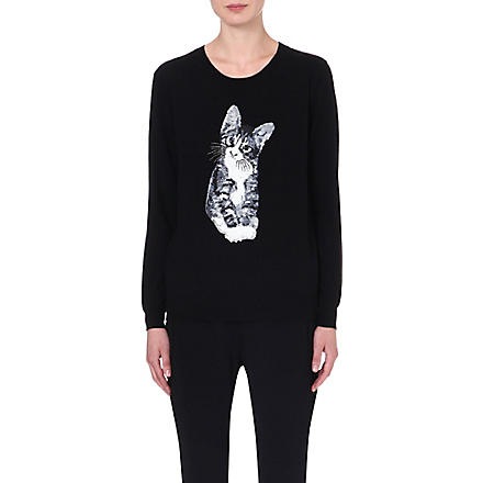 MARKUS LUPFER Kitten sequinned wool jumper (Black
