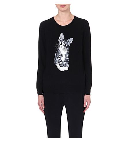 MARKUS LUPFER Kitten sequinned wool jumper (Black