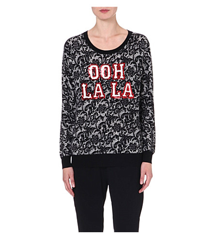 MARKUS LUPFER Ooh La La lace sequinned wool jumper (Black/white