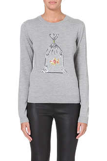 MARKUS LUPFER Fish in a Bag sequin-embellished wool jumper