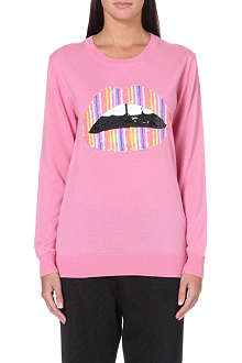 MARKUS LUPFER Jolly Stripe Lara Lips sequin-embellished jumper