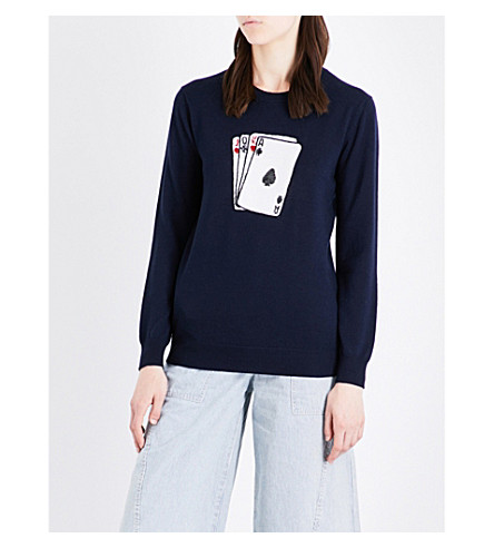 MARKUS LUPFER Natalie sequinned cards merino wool jumper (Navy