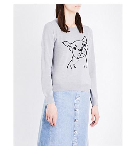 MARKUS LUPFER Grace bulldog-embroidered merino wool jumper (Light+grey