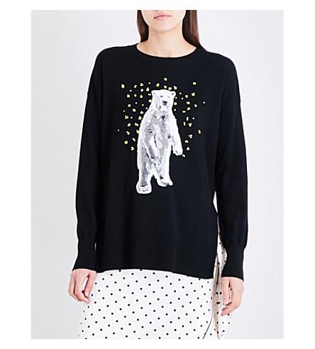 MARKUS LUPFER Polar Bear sequin-embellished merino wool jumper (Blak