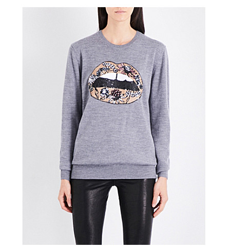 MARKUS LUPFER Sequin-embellished Flower Lip merino wool jumper (Ltg-