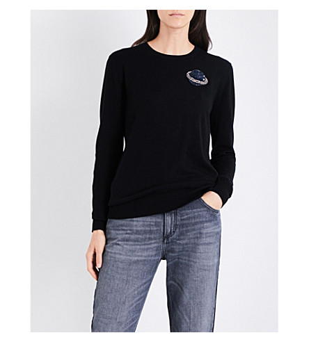 MARKUS LUPFER Sequin-embellished Planet merino wool jumper (Blak
