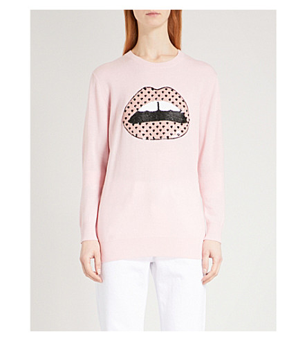 MARKUS LUPFER Sequin-embellished Heart Lip wool jumper (Dusty+pink
