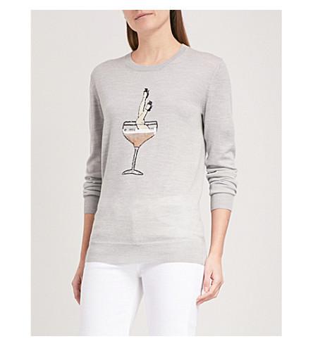MARKUS LUPFER Champagne Girl sequinned wool jumper (Light+grey