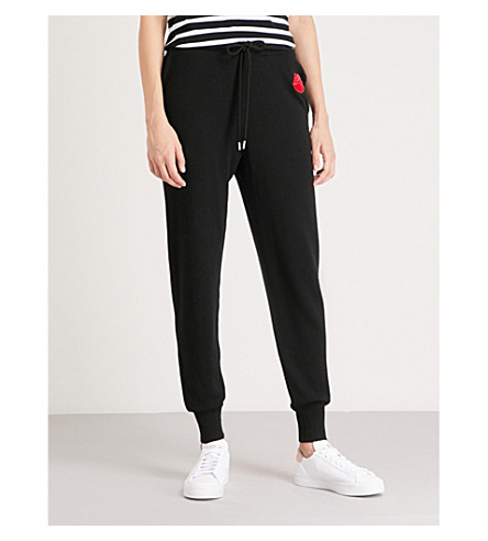 MARKUS LUPFER Velvet-patch wool jogging bottoms (Black