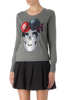 MARKUS LUPFER Flower Skull sequinned jumper