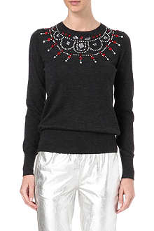 MARKUS LUPFER Rose jewelled collar wool jumper