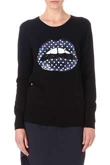 MARKUS LUPFER Polka dot sequin lips jumper