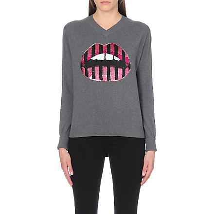 MARKUS LUPFER Lara lips sequin jumper (Med grey/ pink