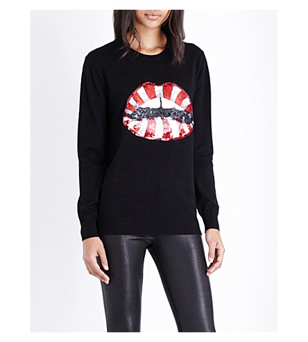 MARKUS LUPFER Sequinned candy cane lip wool jumper (Black