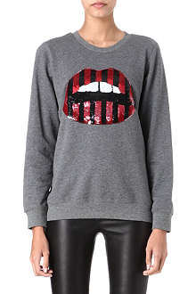MARKUS LUPFER Lara sequinned lips sweatshirt