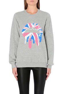 MARKUS LUPFER Union Jack Lips sequin-embellished sweatshirt