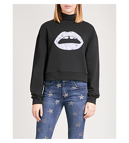 MARKUS LUPFER Floral-embroidered Lara Lip cotton-jersey sweatshirt (Black