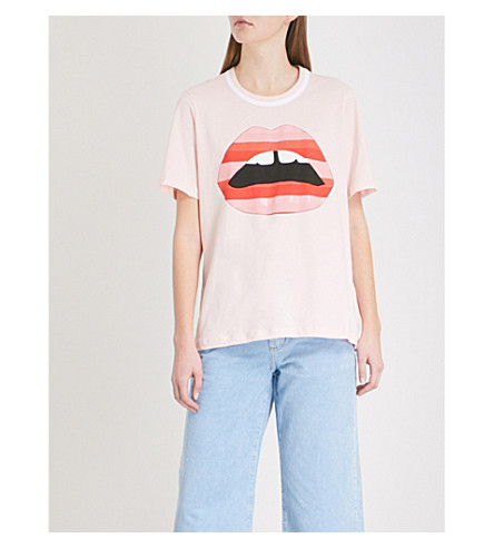 MARKUS LUPFER Striped Lara Lip cotton-jersey T-shirt (Pink