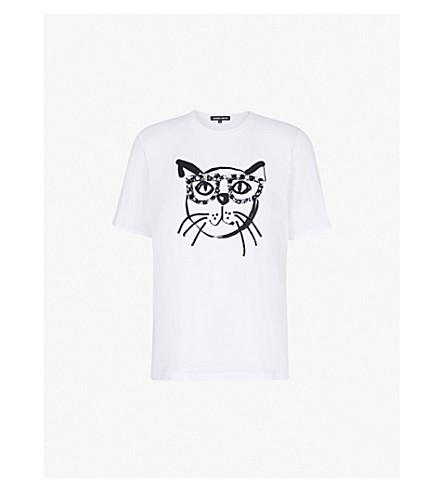 MARKUS LUPFER小丑猫棉球衣 t恤衫 (白色