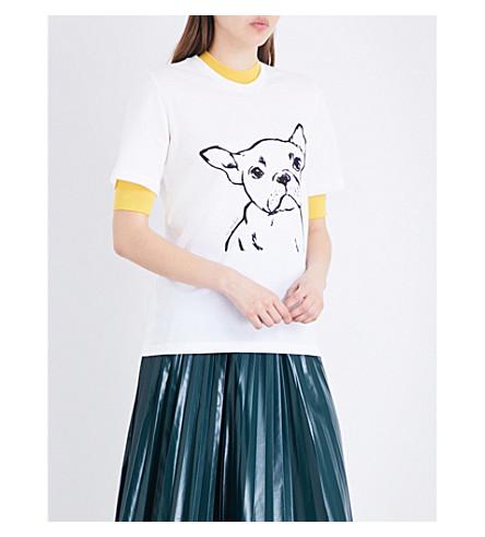 MARKUS LUPFER Hand drawn Frenchie cotton-jersey T-shirt (White