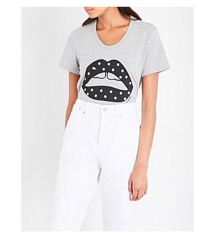 MARKUS LUPFER Polka-dot Lara lip cotton T-shirt (Grey