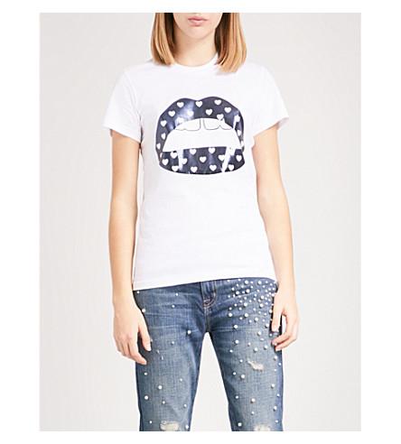 MARKUS LUPFER Heart polka dot Lara Lip cotton-jersey T-shirt (White