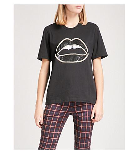 MARKUS LUPFER Sequin-embellished Lara Lip cotton-jersey T-shirt (Black
