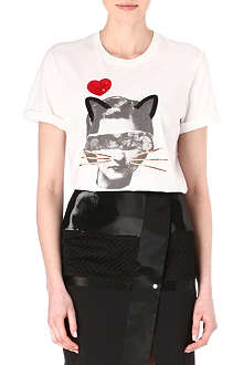 MARKUS LUPFER Collage cat face t-shirt