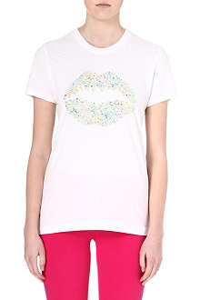 MARKUS LUPFER Rainbow sequin smacker t-shirt