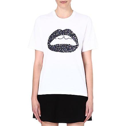 MARKUS LUPFER Lara sequin-embellished t-shirt (White