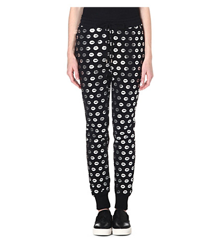 MARKUS LUPFER Smacker foil-print jogging bottoms (Black