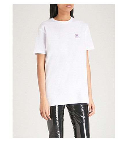YEAH RIGHT NYC Mood Swings embroidered cotton-jersey T-shirt (White+with+pink+black