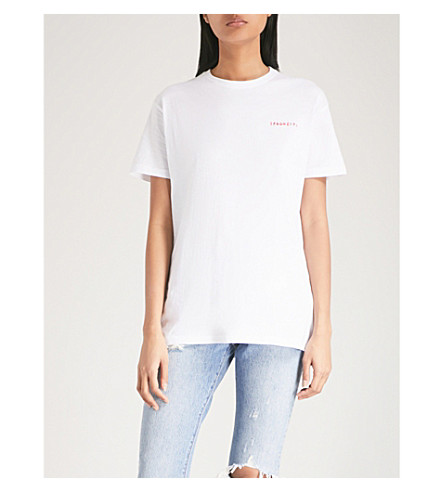YEAH RIGHT NYC Spaghetti embroidered cotton-jersey T-shirt (White+with+red