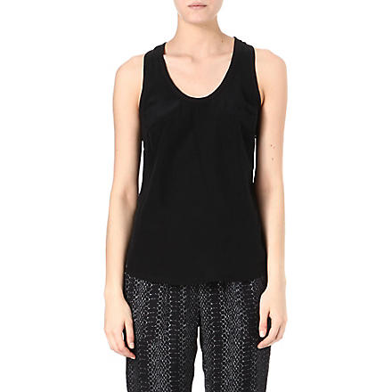 JOIE Alicia silk racer-back vest top (Caviar
